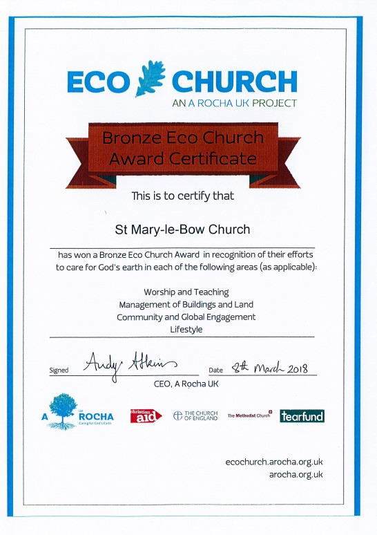 ECO Church bronze award 2018